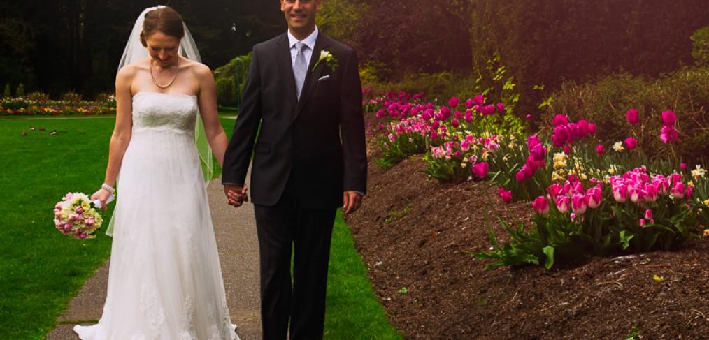 Bride And Groom Walk Through Beacon Hill Park