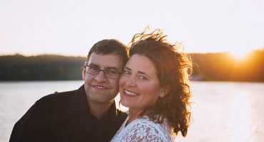 Couple in front of sunset at Esquimalt Lagoon