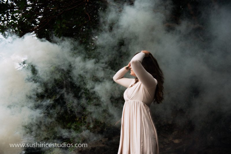 Woman in woods and smoke Thetis Lake Fine Art Portraits-12 - Fun and