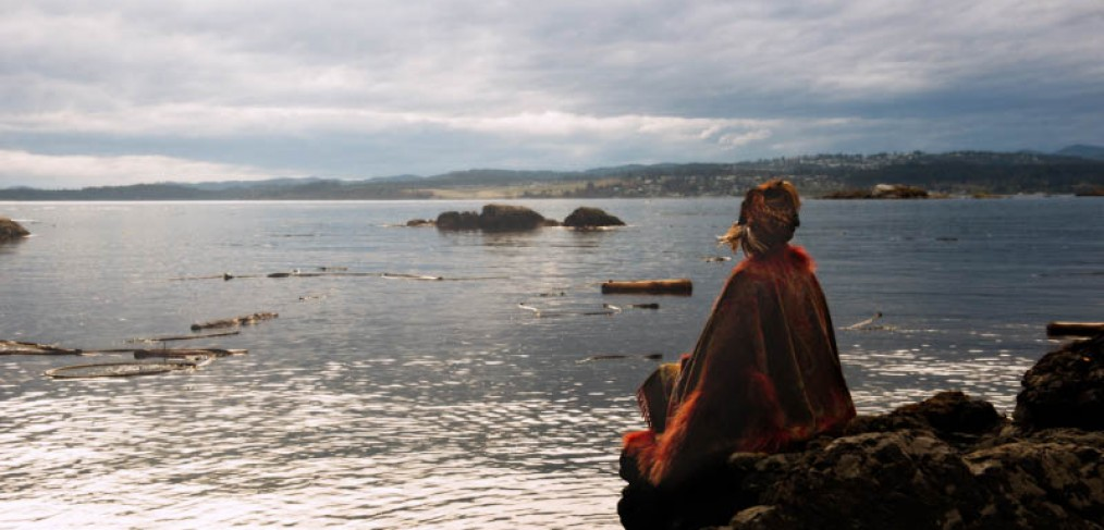 Fine art photography woman at Saxe Point with Dog