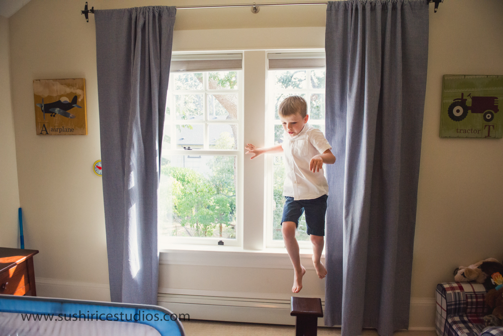 Boy jumping from window