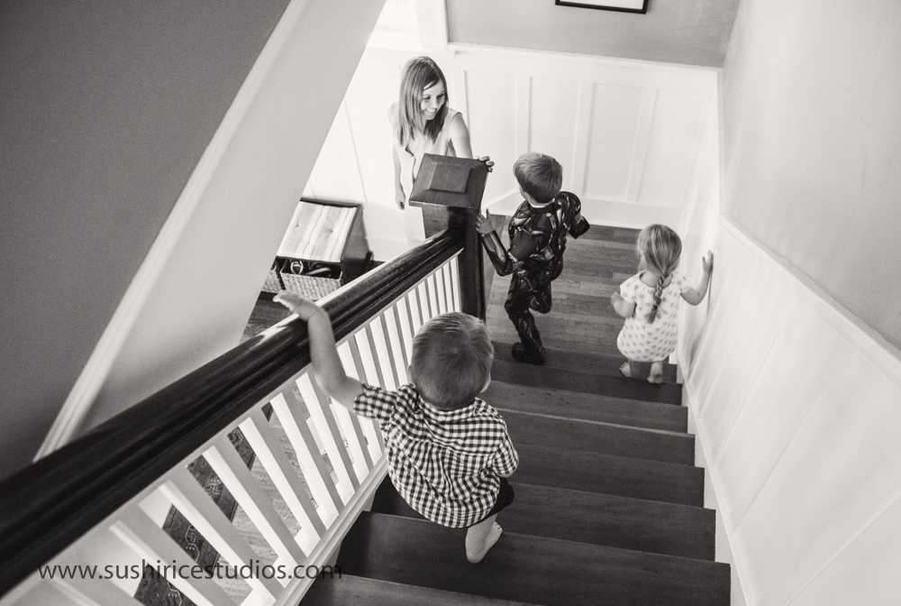 Family descending the stairs