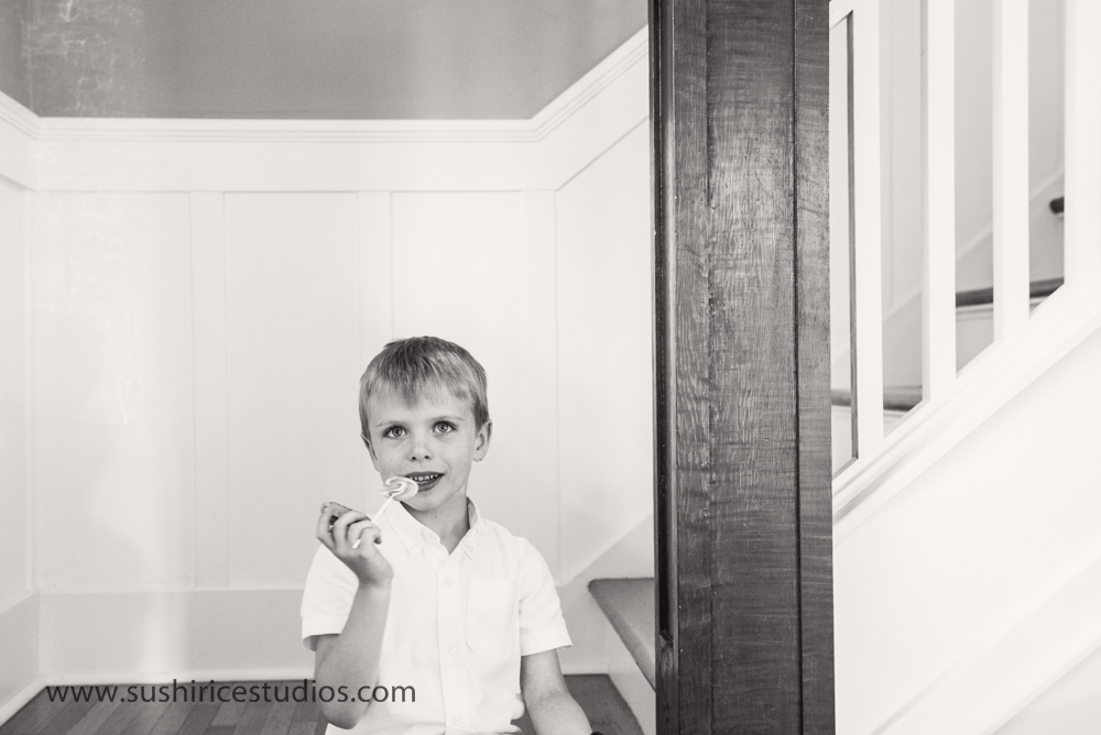 boy hanging out in stairwell