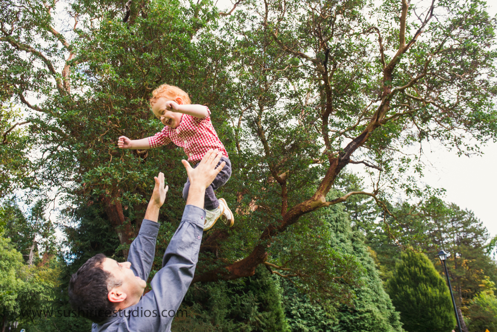 Toddler being thrown in the air by dad