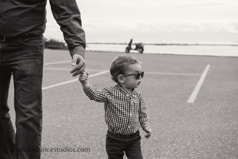 Cool toddler with shades on