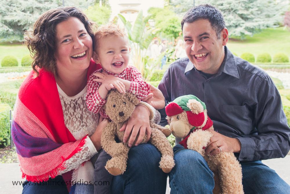 Family portrait with teddy bears