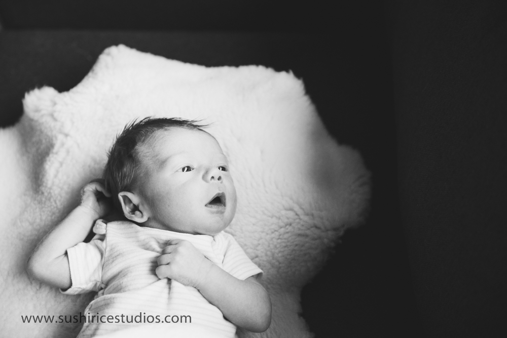 Moody newborn portrait